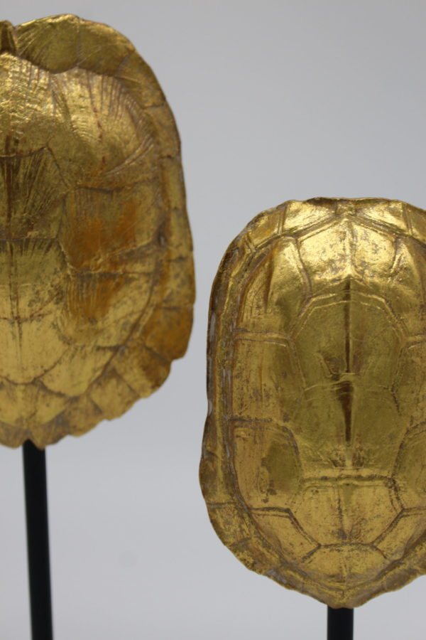 Gold Turtle Shell Statues close-up